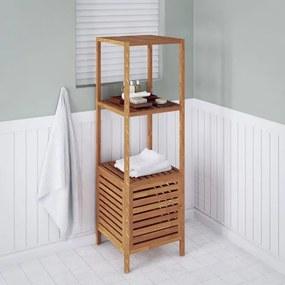 Raft de baie din lemn de nuc solid, 39,5 x 35,5 x 123 cm