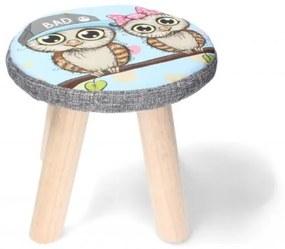 Scaun taburet, pentru copii, model pasari, 28x28 cm