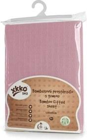 Xkko - Cearceaf cu elastic din bambus 60x120 cm Roz XKKO