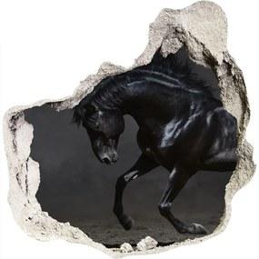 Fototapet 3D gaură în perete Cal negru