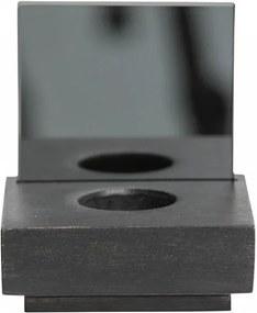 Suport lumanare negru din lemn si sticla 12 cm Janne Black