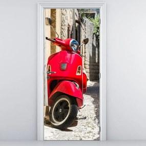 Fototapeta pentru ușă - scuter roșu (95x205cm)