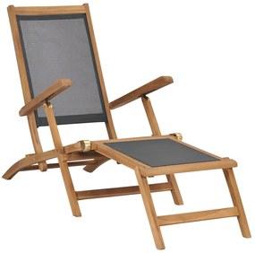 47410 vidaXL Șezlong cu suport de picioare, negru, lemn masiv de tec