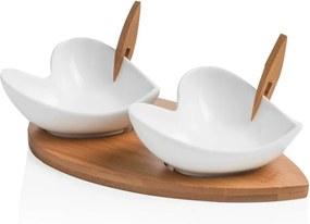 Set 2 boluri pentru servit cu tocător și 2 scobitori decorative Brandani Coeur Blanc