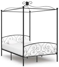284477 vidaXL Cadru de pat cu baldachin, negru, 140 x 200 cm, metal
