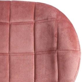 Scaun Roz din Material Textil si Metal 51cm IXIA - Textil Roz Lungime (51cm) x Latime (42cm) x Inaltime (80cm)