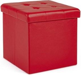 Taburet cu spatiu depozitare piele ecologica rosie Magda 38 cm x 38 cm x 38 h