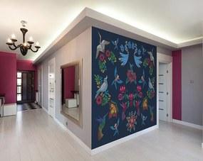 Fototapet květiny - Birds Embroidery 300x240 cm