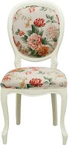 Scaun Regal din lemn alb si tapiterie florala 50x45x99 cm
