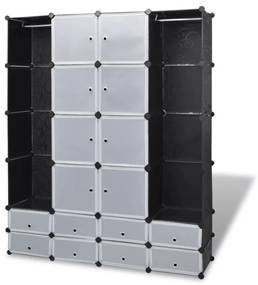 240501 vidaXL Dulap modular cu 18 compartimente alb și negru 37x146x180,5 cm