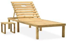 315395 vidaXL Șezlong de grădină cu masă, lemn de pin tratat