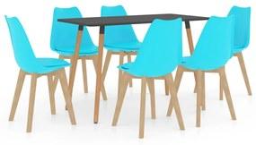 3056071 vidaXL Set de masă, 7 piese, albastru