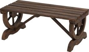 Outsunny Banca de Gradina cu 2 locuri din lemn de molid Efect Ars si Stil Rustic, Maro 105x50x53cm