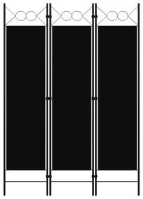 320702 vidaXL Paravan de cameră cu 3 panouri, negru, 120 x 180 cm