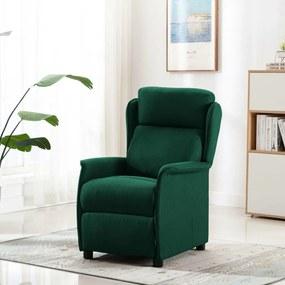 289792 vidaXL Fotoliu de masaj rabatabil, verde închis, material textil