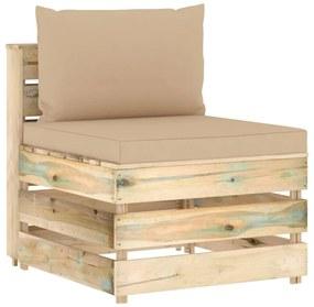 3074510 vidaXL Canapea de mijloc modulară cu perne, verde, lemn impregnat