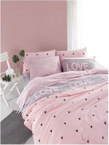 Lenjerie de pat din bumbac ranforce pentru pat de 1 persoană Mijolnir Romona Lilac, 140 x 200 cm