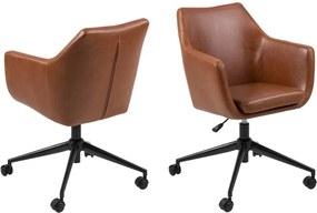 Scaun birou cu roți din piele artificială Actona Nora, maro