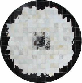 Covor de lux din piele, negru/bej/alb, patchwork, 150x150, PIELE DE VITĂ TIP 9