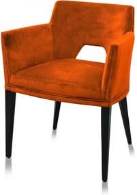 Scaun dining portocaliu din catifea si lemn Jasper
