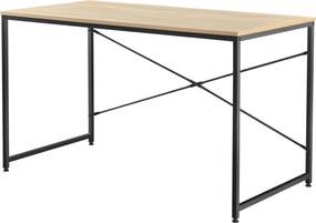 [en.casa]® Birou Class, 120 x 60 x 72 cm, PAL/metal, negru/culoarea stejarului