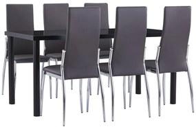 3053041 vidaXL Set mobilier de bucătărie, 7 piese, gri, piele ecologică
