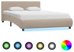 285500 vidaXL Cadru de pat cu LED, cappuccino, 120 x 200 cm, piele ecologică