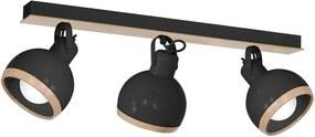 Plafonieră cu detalii din lemn Oval Tres, negru