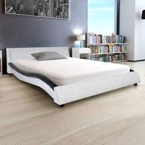 Cadru de pat cu piele artificială 140 x 200 cm, negru și alb