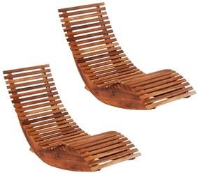 277093 vidaXL Șezlonguri balansoar de plajă, 2 buc., lemn masiv de acacia