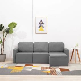 288783 vidaXL Canapea extensibilă modulară cu 3 locuri, gri deschis, textil
