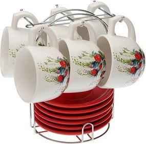 Set 6 cești pentru ceai cu farfurie și suport VERSA Flower