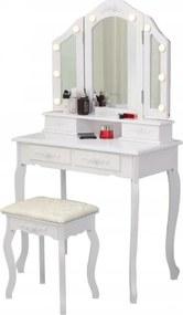 Masă de toaletă cu oglindă LED Victoria White