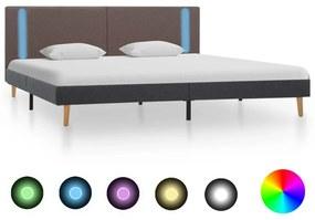 286780 vidaXL Cadru pat cu LED-uri, gri taupe/gri închis, 180x200 cm, textil