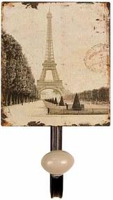 Cuier de perete din fier si ceramica Tour Eiffel 12 cm x 7.5  cm x 13 h