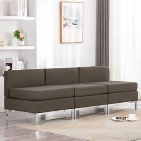 287059 vidaXL Canapele de mijloc modulare cu perne, 3 buc., gri taupe, textil