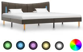 288548 vidaXL Cadru de pat cu LED, antracit, 180 x 200 cm, piele ecologică