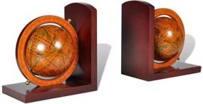 Set clasic capete de raft pentru cărți în formă de glob pământesc