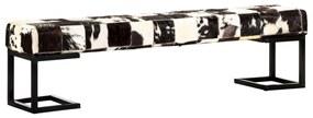 283749 vidaXL Bancă, model petice, negru, 160 cm, piele naturală de capră