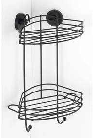 Raft dublu de colț pentru baie Wenko Vacuum-Loc® Pavia, înălțime 43 cm, negru