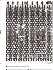 Fototapet GLIX - Retro Hearts Pattern  + adeziv GRATUIT Papírová tapeta  - 184x254 cm