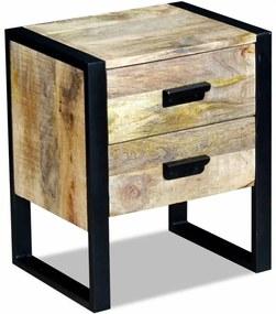 243298 vidaXL Masă laterală cu 2 sertare din lemn solid de mango, 43x33x51 cm