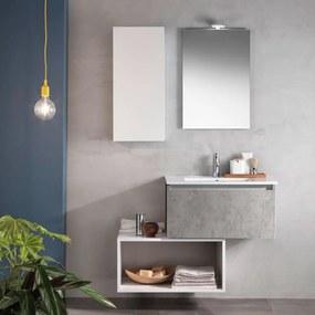 Set de baie cu 6 piese PERTH, Melamina Aluminiu Abs Sticla Ceramica Metal, Gri, 106x46.5x190 cm