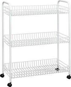 Cărucior mobil cu 3 rafturi pentru baie Metaltex Laundry, 31 x 84 cm