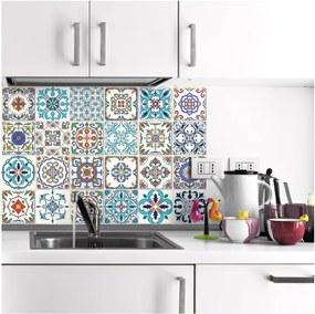 Set 24 autocolante de perete Ambiance Patchwork Tiles, 20 x 20 cm
