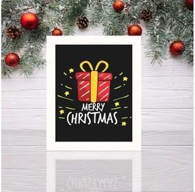 Tablou cu rama albă Christmas Gift, 23,5 x 28,5 cm