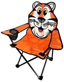 Scaun pliabil gradina, camping, pescuit, pentru copii, model tigru, max 60 kg, 35x35x55 cm