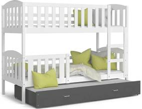 Expedo Pat supraetajat copii cu pat suplimentar KUBA 3 COLOR + saltea + somieră GRATIS, 190x80, alb/gri