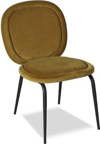 Set 2 scaune dining din catifea galbena si metal negru Belux
