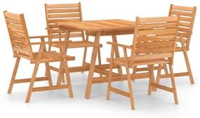 3057843 vidaXL Set mobilier de masă pentru grădină, 5 piese, lemn masiv acacia